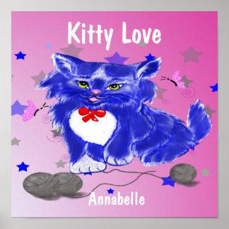 Lovely blue kitty nursery children art poster