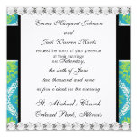 lovely blue lime green and cream ornate damask 5.25x5.25 square paper invitation card