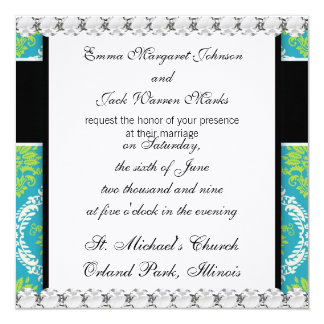 lovely blue lime green and cream ornate damask invitation