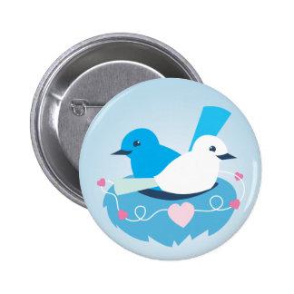 Lovely Blue love birds wren white Button