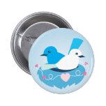 Lovely Blue love birds wren white Buttons