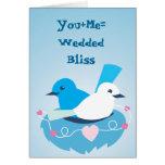 Lovely Blue love birds wren white Greeting Card