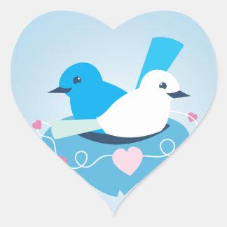 Lovely Blue love birds wren white Heart Sticker