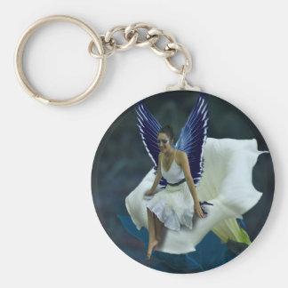 Lovely Blue Moon Fairy Round Keychain