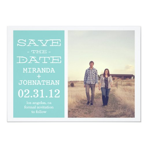 "Lovely Blue Photo Save The Date Invites 5"" X 7"" Invitation Card"