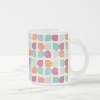 Lovely Blue Purple Peach Orange Leaf Patterns Frosted Glass Coffee Mug