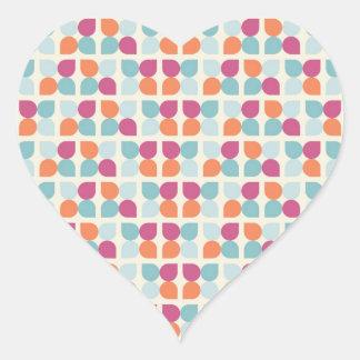Lovely Blue Purple Peach Orange Leaf Patterns Heart Sticker