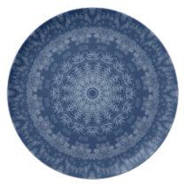 lovely blue snowflake holiday gift melamine plate