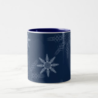 lovely blue snowflake holiday gift Two-Tone coffee mug