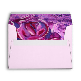 Lovely Blue Violet Winter Roses Acrylic Painting Envelope