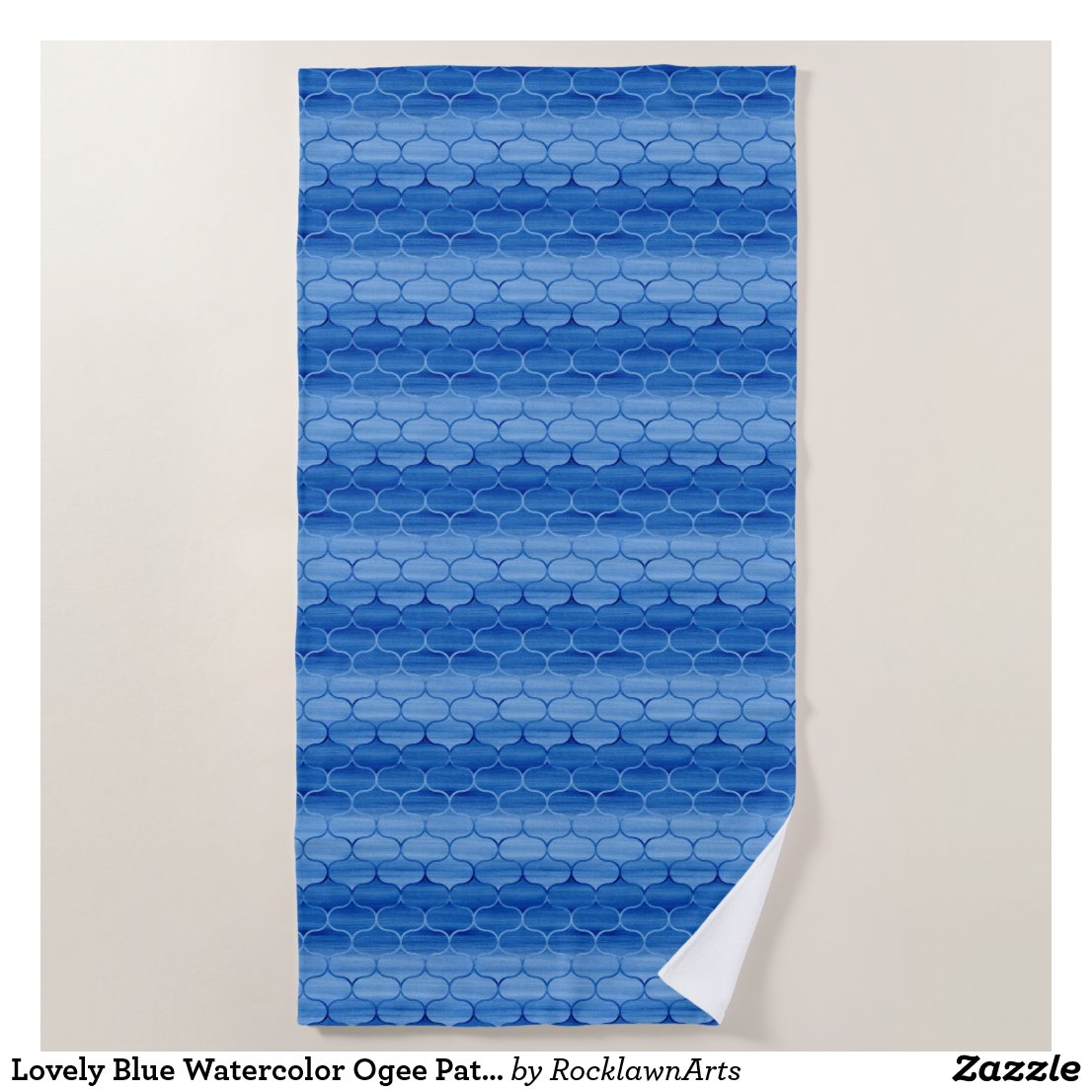 Lovely Blue Watercolor Ogee Pattern Beach Towel