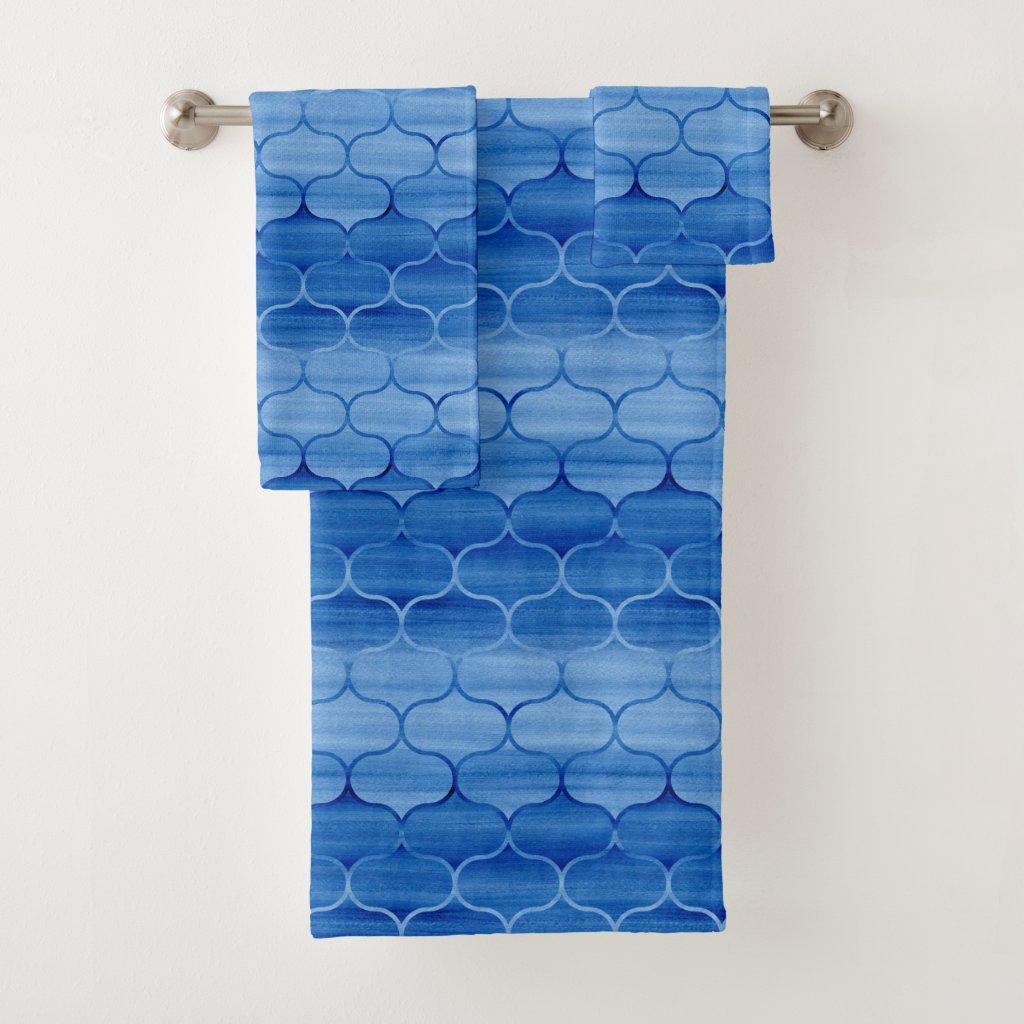 Lovely Blue Watercolor Ogee Pattern Towel Set