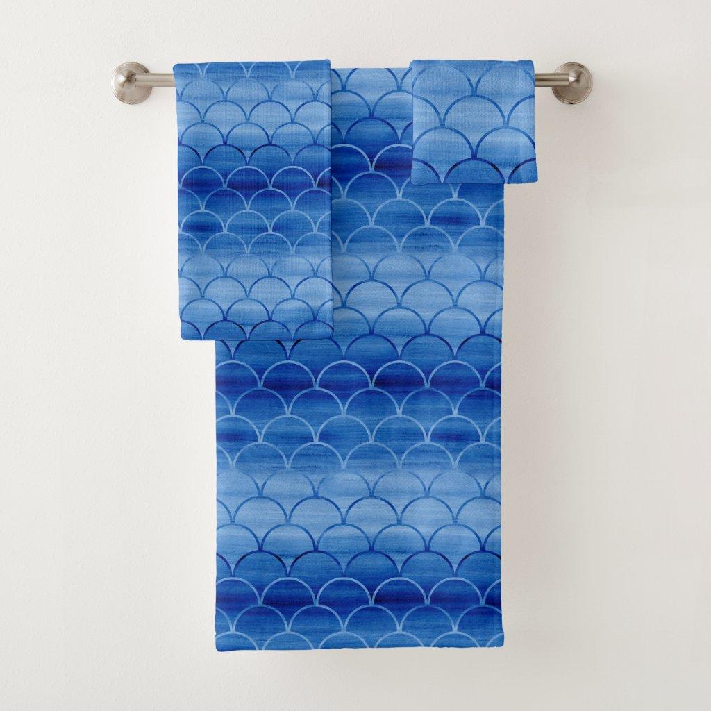 Lovely Blue Watercolor Scale Pattern Towel Set