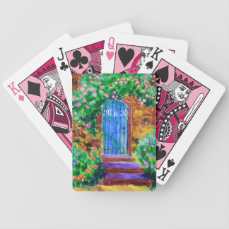 Lovely Blue Wooden Door to Secret Rose Garden Bicycle Playing Cards