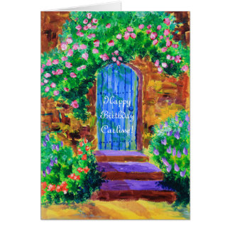 Lovely Blue Wooden Door to Secret Rose Garden Card