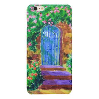 Lovely Blue Wooden Door to Secret Rose Garden Glossy iPhone 6 Plus Case
