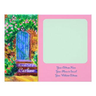 Lovely Blue Wooden Door to Secret Rose Garden Letterhead