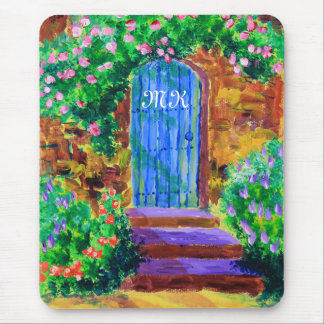 Lovely Blue Wooden Door to Secret Rose Garden Mouse Pad