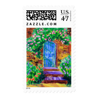 Lovely Blue Wooden Door to Secret Rose Garden Postage