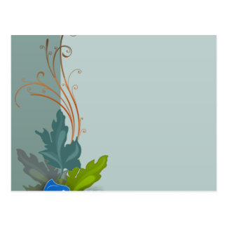 Lovely bluish blossom and colorful leaves postcard