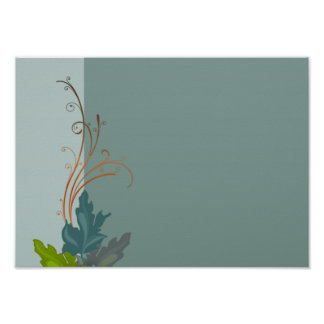 Lovely bluish blossom and colorful leaves poster