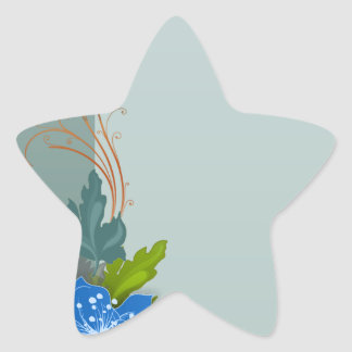 Lovely bluish blossom and colorful leaves star sticker