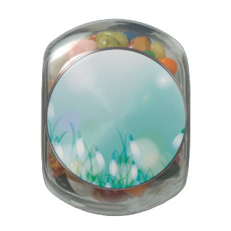 Lovely Bokeh Glowing Flowers Cards, Gifts, Postage Glass Candy Jars