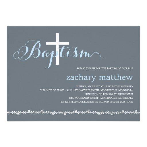 Lovely Border Baptism Invitation - Blue