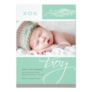 Lovely Boy Custom Photo Birth Announcement