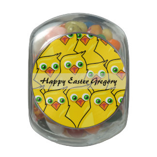 Lovely Bright Yellow Easter Chickens Glass Candy Jar