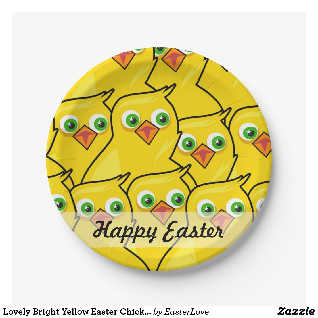 Lovely Bright Yellow Easter Chickens Paper Plate