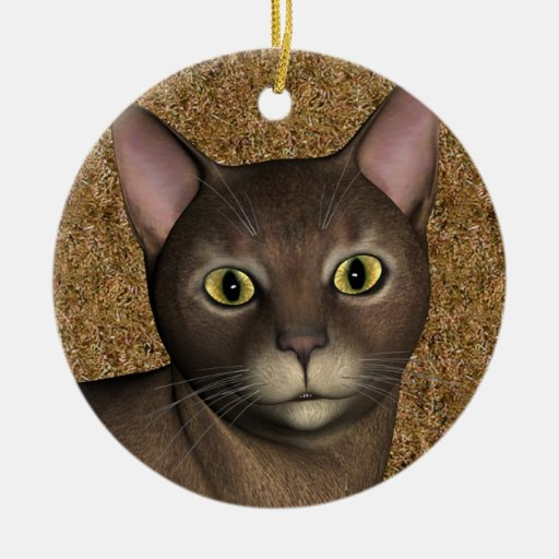 Lovely Brown Cat Christmas Ornament