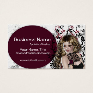 Lovely Brown Haired Lady  - Fantasy Business Cards