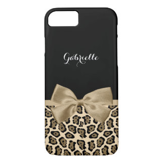 Lovely Brown Jaguar Print With Ribbon Bow and Name iPhone 8/7 Case