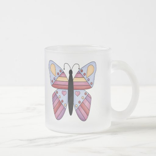 Lovely Butterfly 10 Oz Frosted Glass Coffee Mug