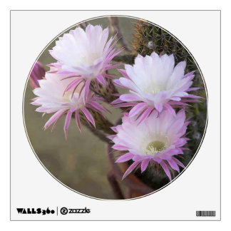 Lovely Cacti Flowers - Wall Decal Circle