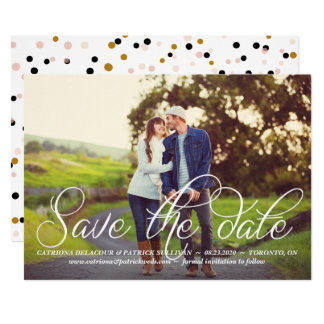 Lovely Calligraphy Script Photo Save the Date Card