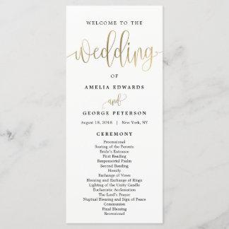 Lovely Calligraphy Wedding Program Faux Gold