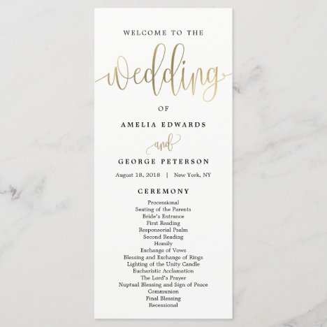 Lovely Calligraphy Wedding Program Faux Gold