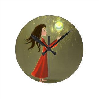 lovely cartoon girl and sun Wall Clock
