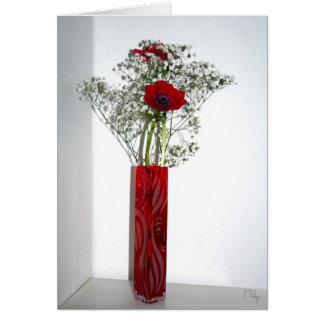 Lovely carved red vase card