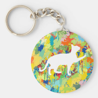 Lovely Cat Colorful Splash Complet Keychain