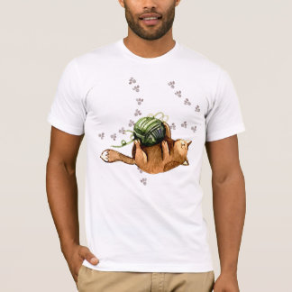 Lovely Cat Playing A Ball Of Wool Men's T-shirt