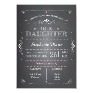 Lovely Chalkboard Baby Girl Birth Announcement