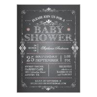 Lovely Chalkboard Baby Girl Shower Invitation