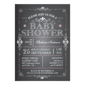 Lovely Chalkboard Baby Girl Shower Invitation