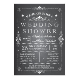 Lovely Chalkboard Couples Wedding Shower Custom Invitation