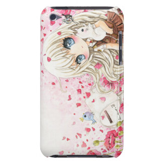 Lovely chibi girl with kawaii white cat iPod touch case