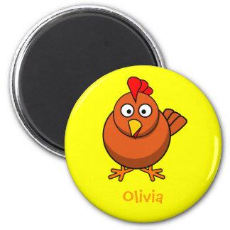 Lovely chicken 2 inch round magnet