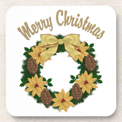 Lovely Christmas Holiday Wreath - Customize Drink Coaster